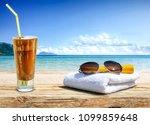 summer photo of desk with... | Shutterstock . vector #1099859648