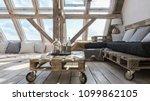 wooden beams in interior. loft... | Shutterstock . vector #1099862105