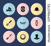 set of 9 accessory filled icons ... | Shutterstock .eps vector #1099863782