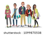 happy group of students with... | Shutterstock . vector #1099870538