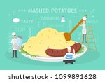 cooking giant mashed potatoes... | Shutterstock .eps vector #1099891628