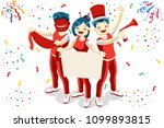 cheering crowd of football fans ... | Shutterstock . vector #1099893815