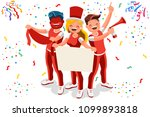 cheering crowd of football fans ... | Shutterstock . vector #1099893818