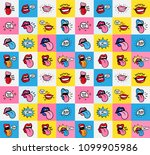 pop art lips seamless pattern.... | Shutterstock .eps vector #1099905986