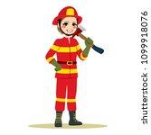 happy female firefighter in red ...   Shutterstock .eps vector #1099918076