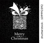 christmas card. gift box with... | Shutterstock .eps vector #109992392