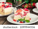 portion of cheesecake with... | Shutterstock . vector #1099944536