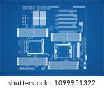 computer motherboard architect... | Shutterstock . vector #1099951322