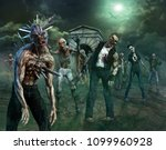 zombie scene 3d illustration | Shutterstock . vector #1099960928