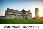 leaning tower of pisa in pisa ... | Shutterstock . vector #1099986272