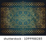 golden ornate art deco vintage... | Shutterstock .eps vector #1099988285