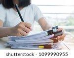 asian business woman manager... | Shutterstock . vector #1099990955