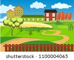 countryside vector landscape ... | Shutterstock .eps vector #1100004065
