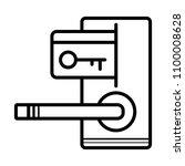 hotel door lock and key card...   Shutterstock .eps vector #1100008628
