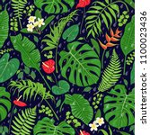seamless pattern with tropical... | Shutterstock .eps vector #1100023436