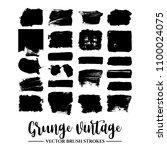 set of black brush stroke and... | Shutterstock .eps vector #1100024075