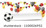football with paper banner ... | Shutterstock .eps vector #1100026952