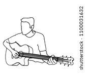 guitarist black line   Shutterstock .eps vector #1100031632
