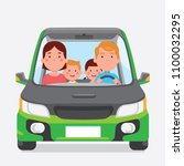vector illustration family road ... | Shutterstock .eps vector #1100032295