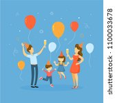 children on party with parents... | Shutterstock .eps vector #1100033678