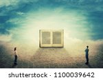 surreal view as a boy and girl... | Shutterstock . vector #1100039642
