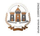ancient fortress emblem.... | Shutterstock .eps vector #1100040362