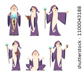 wizard male. cartoon mascot in... | Shutterstock .eps vector #1100043188