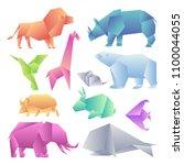 low poly modern gradient... | Shutterstock .eps vector #1100044055