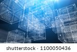 a cyberspace 3d illustration of ... | Shutterstock . vector #1100050436