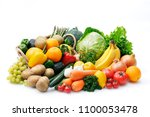 set of different fruits and... | Shutterstock . vector #1100053478