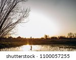 the small girl stands near lake   Shutterstock . vector #1100057255