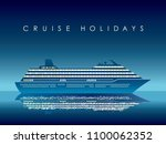 cruise liner at night  vector... | Shutterstock .eps vector #1100062352