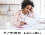 upset african american female... | Shutterstock . vector #1100063888