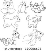 Vector Set Of Outlined Cartoon...