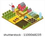 rural farm 3d isometric... | Shutterstock .eps vector #1100068235