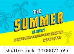 latin alphabet. summer font in...   Shutterstock .eps vector #1100071595