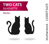 Stock vector two cats silhouettes 1100071625