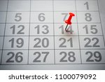 calendar with red pin | Shutterstock . vector #1100079092