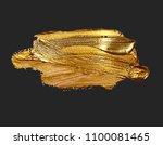 hand drawing gold brush stroke... | Shutterstock . vector #1100081465