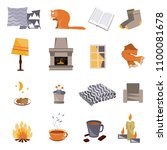 time to hygge. vector flat... | Shutterstock .eps vector #1100081678