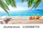 summer photo of beach and free... | Shutterstock . vector #1100088755