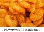 pile of seasoned bread croutons ... | Shutterstock . vector #1100091032