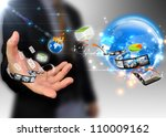 businessman holding ideas... | Shutterstock . vector #110009162