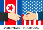 cooperation between north korea ... | Shutterstock .eps vector #1100092052