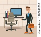 business worker in office | Shutterstock .eps vector #1100093738