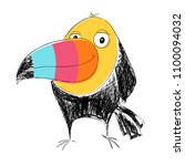toucan bird cool print. cute... | Shutterstock .eps vector #1100094032