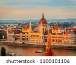 view to parliament on danube... | Shutterstock . vector #1100101106