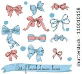 set of vintage pink and blue... | Shutterstock .eps vector #110010158