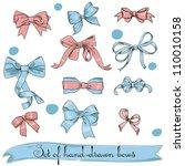 set of vintage pink and blue... | Shutterstock .eps vector #110010158