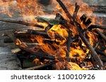 big fireplace outdoor with big... | Shutterstock . vector #110010926